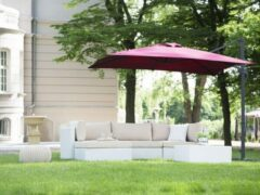 Bordeauxrode Beliani Monza - Zweefparasol - Aluminium - rood - 248x245x235