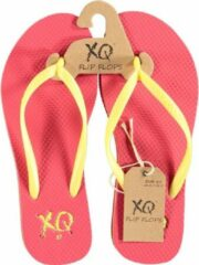 Roze XQ Footwear teenslippers dames polyester fuchsia/geel maat 38