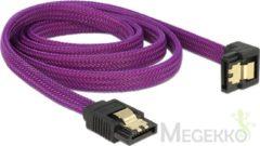 Paarse SATA600 kabel - hoge kwaliteit - haaks naar beneden - 1 meter