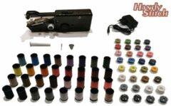 Zwarte Handy Switch Handy Stitch - PREMIUM Handnaaimachine met Adapter + 64 Spoelen garen en accessoires - Compact - Draadloos - Draagbare reis naaimachine - Elektrisch of op Batterijen