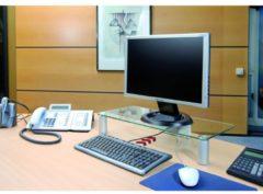 TV-Aufsatz TV Glasaufsatz Monitor Erhöhung Fernseh Aufsatz Glas 'Pocasa' VCM Aluminium