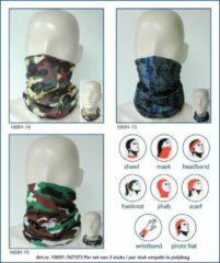 Ega Multipromotions - elastische bandana - neksjaal - nekwarmer - sjaal - motief Camo - set van 3 - groen/zwart/geel/bruin - groen/bruin/zwart/wit - grijs/blauw/zwart
