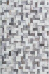 Grijze Decor24-OB Laagpolig vloerkleed met patronen Bonanza - Tetris - 80x150 cm
