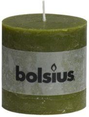 Groene Bolsius Stompkaars Stompkaars 100/100 rustiek Olijfgroen