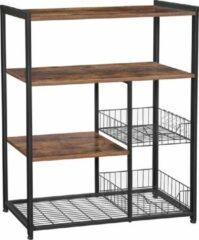 VASAGLE keukenplank, staande plank met 2 metalen manden, bakkersplank met haken en planken, magnetronplank, 80 x 35 x 95 cm, industrieel ontwerp, vintage, donkerbruin