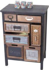 Heute-wohnen Apotheker-Schrank HWC-A43, Kommode, Tanne Holz massiv Vintage Patchwork 78x55x35cm