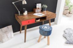 Wohnling Schreibtisch REPA rot 120 x 60 x 75 cm Massiv Holz Laptoptisch Sheesham Natur Landhaus-Stil Arbeitstisch mit 2 Schubladen Bürotisch PC-Tisc