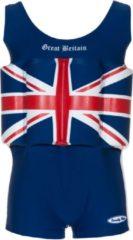 Donkerblauwe Beverly Kids UV drijfpakje Kinderen Great Britain - Blauw - Maat 98