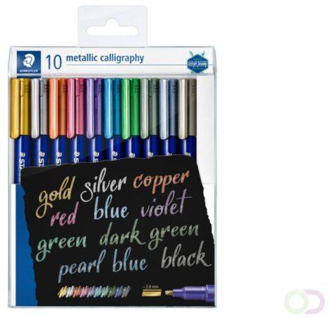 Afbeelding van Kalligrafiepen Staedtler metallic etui à 10 kleuren