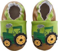 Groene Merkloos / Sans marque Leren babyslofjes van Baby-Slofje Tractor maat 6-12 mnd