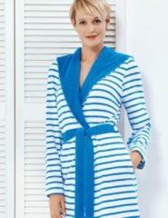 Marineblauwe Taubert badjas YACHT 100cm met capuchon blue/white 40