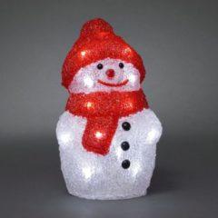 Transparante Konstsmide - LED acryl sneeuwpop 22cm op batt 20x - koelwit