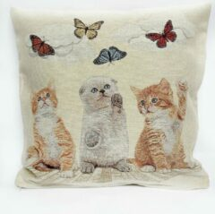 Bruine Emme Kussenhoes - Katten met vlinders - Gobelin - Kat