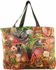 Rode Shopper - Canvas tas - African Jungle: Full design - WhimsicalCollection - Strandtas - Weekendtas - Reistas - Boodschappentas. Mooi, modieus, bijzonder en helemaal Afrika.