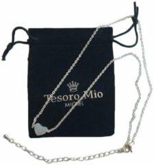 Tesoro Mio Michel – TMM Basics – Ketting Met Hart Hangertje – Verzilverd 304 Edelstaal – 36 + 7 cm Verstelbaar - Incl. Geschenkverpakking en Poetsdoekje Voor Zilver
