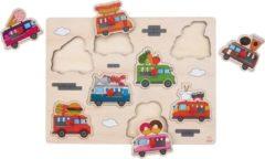 Merkloos / Sans marque Houten knopjes/noppen speelgoed puzzel foodtruck thema 30 x 22 cm - Educatief speelgoed voor kinderen