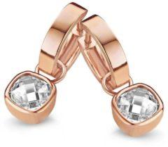 Roze New Bling 9NB-0109 - Zilveren oorringen met hanger - zirkonia 8 mm - rosékleurig