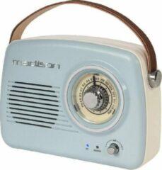 Blauwe Madison draagbare retroradio met bluetooth en FM - 30 Watt