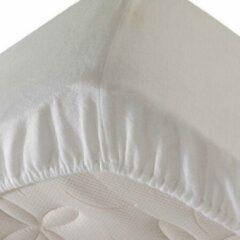 Princessmatrassen Comfortabele Zachte Molton Hoeslaken - Rondom Elastiek - Lits-Jumeaux- 200x200+40cm Hoekhoogte-Wit- Voor Boxspring-Waterbed