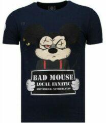 Blauwe Local Fanatic State Prison - Rhinestone T-shirt - Navy State Prison - Rhinestone T-shirt - Navy Heren T-shirt Maat XL