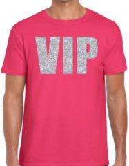 Bellatio Decorations VIP zilver glitter tekst t-shirt roze heren XL