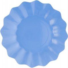 Merkloos / Sans marque 8x Diepe kartonnen bordjes zeeblauw 21 cm - Wegwerpborden van karton - Feestbordjes - Feestartikelen tafeldecoratie