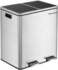 Zilveren Songmics XL Metalen Duo Prullenbak - 2 Vakken Afval Scheiden - 2x30 Liter Afvalscheiding Pedaalemmer - Keuken Trash Can - Fingerprint Proof - 60 Liter