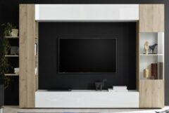 Pesaro Mobilia Tv-wandmeubel Marina 295 cm breed in hoogglans wit met cadiz eiken