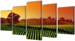 VidaXL Canvas muurdruk set velden 200 x 100 cm