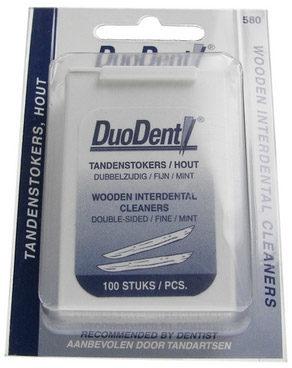 Afbeelding van Duodent Tandenstoker hout fine/extra fine dubbelzijdig 100 Stuks