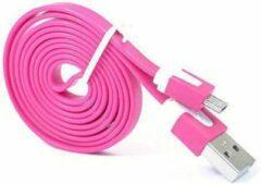 Qatrixx Micro USB Kabel Datacable 1 meter Universeel Fuchsia Pink Roze