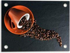Oranje KuijsFotoprint Tuinposter – Koffiekop met omgevallen Koffiebonen - 40x30cm Foto op Tuinposter (wanddecoratie voor buiten en binnen)