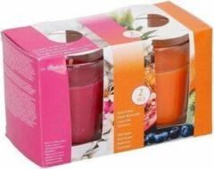 Roze Merkloos / Sans marque Duo geurkaarsen fresh cotton en fruit fusion in glas - 2 stuks - geurkaars