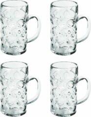 Transparante Santex 4x Bierpullen/bierglazen halve liter/50 cl/500 ml van onbreekbaar kunststof - 0,5 liter pullen - Bierfeest/Oktoberfest pul - Bierpul glazen – herbruikbare glazen