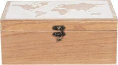 Clayre & Eef Opbergkist 6H1932 24*16*10 cm Bruin Hout Rechthoek Wereldkaart Speelgoedkist Dekenkist