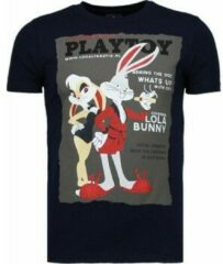 Blauwe Local Fanatic Playtoy Bunny - Rhinestone T-shirt - Navy Playtoy Bunny - Rhinestone T-shirt - Wit Heren T-shirt Maat 3XL