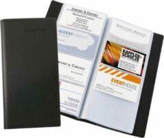 Zwarte Visitekaartmap Sigel kunstleer zwart voor 192 kaarten
