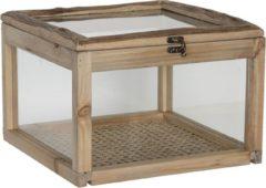 Clayre & Eef Kistje van hout met glas - 30*30*21 cm - bruin - hout - vierkant - Clayre & Eef - 6H1919