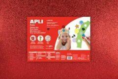Apli Kids EVA Foam vellen 60 x 40 cm Glitter metalic rood - 3 vel