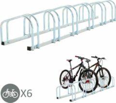 Zilveren NiceGoodz Fietsenrek - Fietsrek -Fietsstandaard - Voor 6 fietsen - Muurmontage mogelijk - 160 x 33 x 27 cm - Verzinkt staal