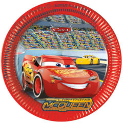 Rode Disney 8 kartonnen Cars 3™ borden - Feestdecoratievoorwerp