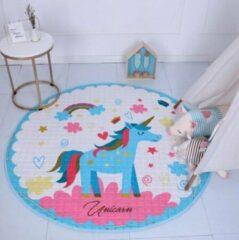 AYME Zacht Speelkleed Baby | Speelkleed Kinderen | Diameter 150cm | 100% Katoen | Baby- of Kinderkamer | Unicorn