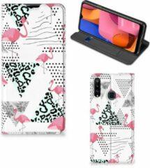 Telefoonhoesje Personaliseren Samsung Galaxy A20s Bookstyle Case Flamingo Triangle