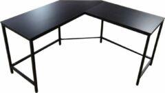 VDD Industrial Vintage Design Hoekbureau Stoer - L-vormige computertafel - industrieel zwart