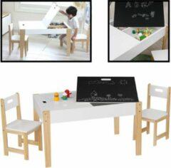 Witte Kindertafel met stoeltjes van hout - 1 tafel en 2 stoelen voor kinderen - Met veel opbergruimte - Kleurtafel / speeltafel / knutseltafel / tekentafel / krijt tafel / tafel voor bouwblokken - zitgroep set - Kindertafel en stoeltjes - Decopatent®
