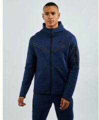 Donkerblauwe Nike Tech Fleece sweatvest met capuchon en logoprint