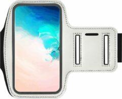 ADEL Sportarmband 5.5 Inch Microfiber Hoesje voor Motorola Moto G8 Plus - Wit