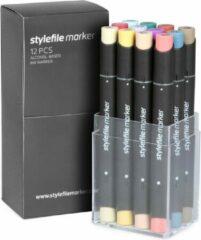 Rode Stylefile Markers Stylefile Twin Marker 12 Main C Set - Hoge kwaliteit stiften, ideaal voor designers, architecten, graffiti artiesten, cartoonisten, & ontwerp studenten