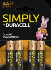Duracell Batterij - Simply AA 1,5V Alkaline - LR6 / MN1500 / STILO / MIGNON 4 stuks