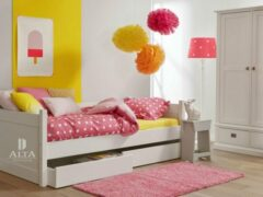 Witte Alta furniture Alta Bedbank met 2 opbergladen, Snow white, hoogwaardige kwaliteit